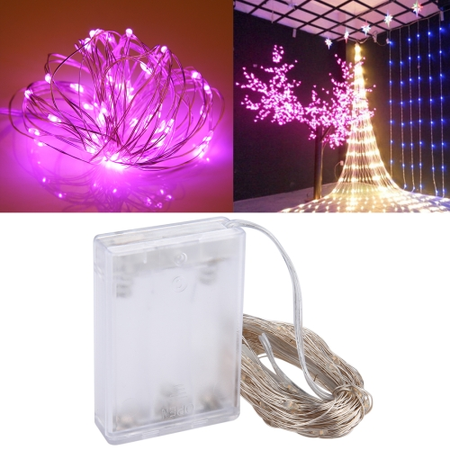 Buy 10m 6W 100 LEDs SMD 0603 IP65 Waterproof 3xAA Batteries Box Silver Wire String Light Fairy Lamp Decorative Light, DC 5V (Pink Light) for $3.19 in SUNSKY store