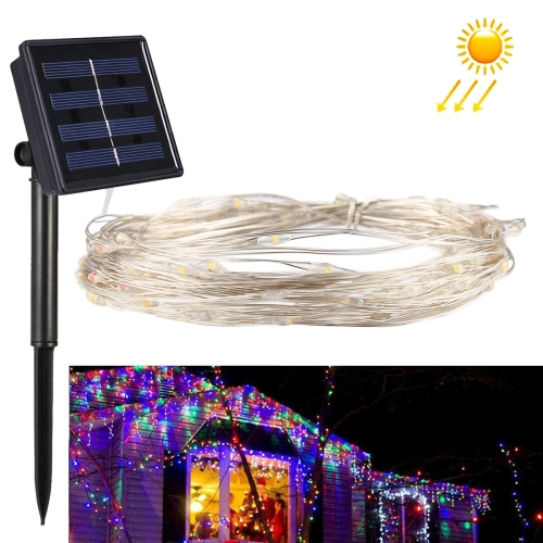 Buy 10m 100 LEDs SMD 0603 IP65 Waterproof Solar Panel Silver Wire String Light Fairy Lamp Decorative Light (Colorful Light) for $5.64 in SUNSKY store