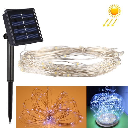 Buy 10m 100 LEDs SMD 0603 IP65 Waterproof Solar Panel Silver Wire String Light Fairy Lamp Decorative Light (White Light) for $5.64 in SUNSKY store