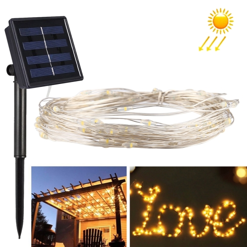 Buy 10m 100 LEDs SMD 0603 IP65 Waterproof Solar Panel Silver Wire String Light Fairy Lamp Decorative Light (Warm White) for $5.63 in SUNSKY store