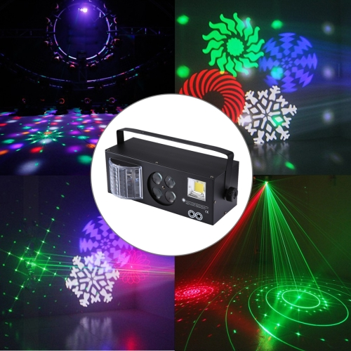 Buy LED-MK004 60W Colorful Light 4 in 1 Projector Indoor Stage Decoration Atmosphere Light with Holder / Auto Run / Sound Control / DMX512, AC 90-240V for $68.60 in SUNSKY store