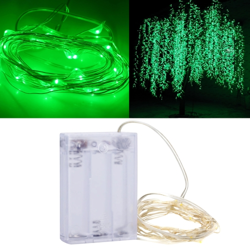 3m 150LM LED Silver Wire String Light, Green Light, 3 x AA Batteries Powered SMD-0603 Festival Lamp / Decoration Light Strip