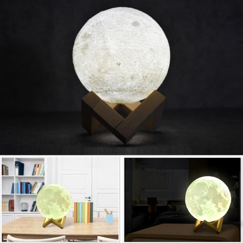 8cm Touch Control 3D Print Moon Lamp, USB Charging White + Yellow Light Color Changing LED Energy-saving Night Light with Wooden Holder Base