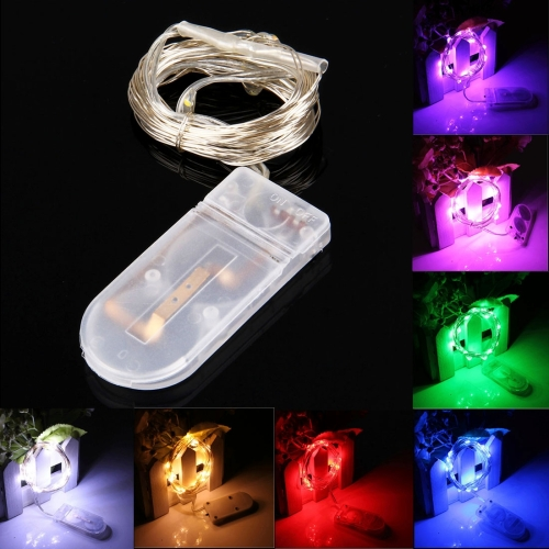 2m 2x2032 Button Batteries Powered IP65 Waterproof 120LM SMD-0603 LED Copper Wire String Decoration Lights Festival Light (Colorful Light)