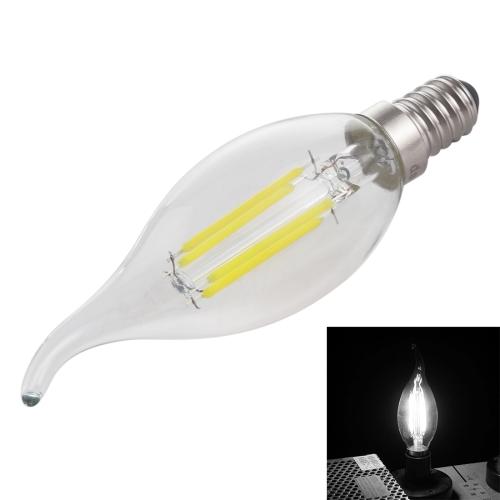 C35 E14 4W 4 LEDs 300 LM 6500K Dimmable Retro LED Filament Light Bulb Energy Saving Light, AC 220V(White Light)