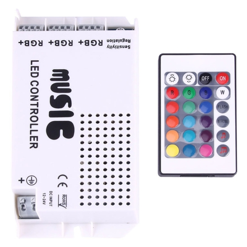 Buy RGB LED Plastic Casing Music Remote Controller with 24 Keys RF Remote Control, DC 12-24V for $5.47 in SUNSKY store