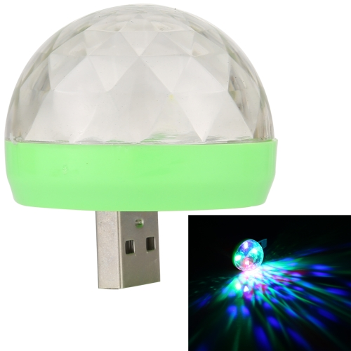 Buy 3W 4 LEDs Mini LED USB RGB Magic Ball Music Sound Control KTV DJ Disco Light Stage Lamp Effect Light with USB-C / Type-C Adapter (Transparent+Green) for $2.02 in SUNSKY store