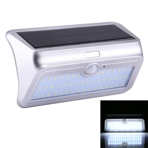 Buy 13.8W 46 LEDs SMD 2835 950LM IP64 Waterproof White Light Outdoor Solar Motion Sensor Light with 5.5V 4.5W Solar Panel, Sensor Distance: about 8m, Silver for $12.60 in SUNSKY store