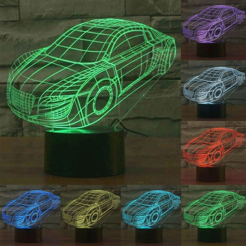 Buy Car Style 7 Colour Discoloration Creative Visual Stereo Lamp 3D Touch Switch Control LED Light Desk Lamp Night Light for $7.88 in SUNSKY store