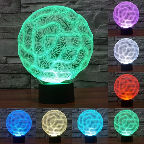 Brain Style 7 Colour Discoloration Creative Visual Stereo Lamp 3D Touch Switch Control LED Light Desk Lamp Night Light