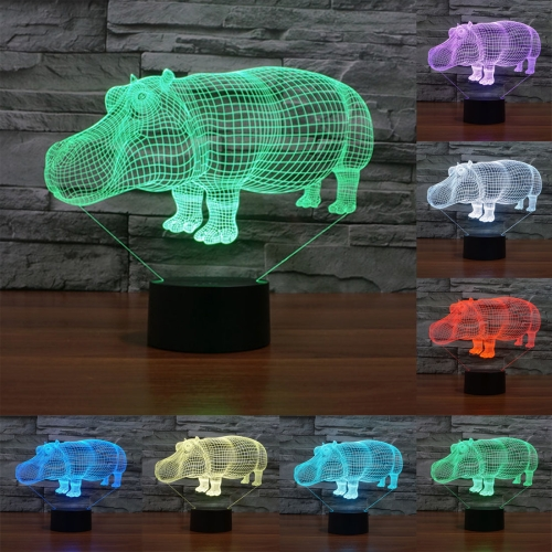 Buy Rhino Style 7 Colour Discoloration Creative Visual Stereo Lamp 3D Touch Switch Control LED Light Desk Lamp Night Light for $7.88 in SUNSKY store
