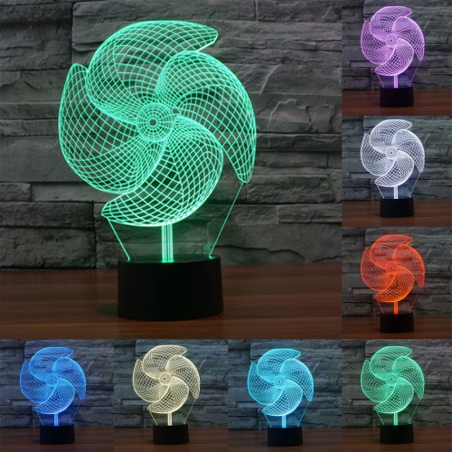 Buy Big Pinwheel Style 7 Colour Discoloration Creative Visual Stereo Lamp 3D Touch Switch Control LED Light Desk Lamp Night Light for $8.27 in SUNSKY store