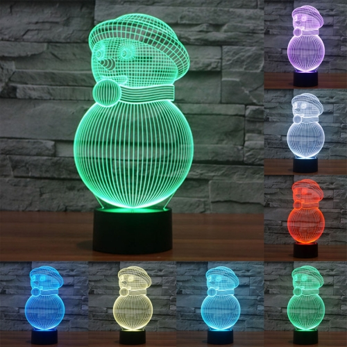 Buy Snowman Style 7 Colour Discoloration Creative Visual Stereo Lamp 3D Touch Switch Control LED Light Desk Lamp Night Light for $7.88 in SUNSKY store