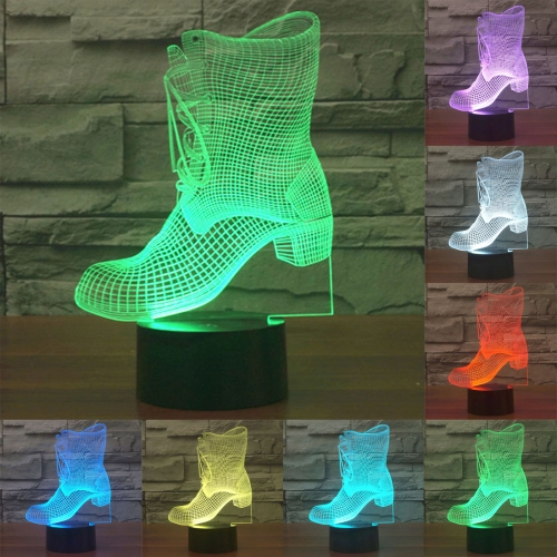 Buy Boots Style 7 Colour Discoloration Creative Visual Stereo Lamp 3D Touch Switch Control LED Light Desk Lamp Night Light for $8.27 in SUNSKY store
