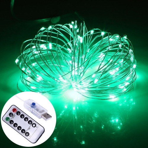 2W 10m USB Silver Wire String Light, 100 LEDs 8 Modes Fairy Lamp Decorative Light with 13-keys Remote Control, DC 5V