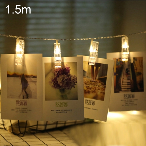 1.5m Photo Clip LED Fairy String Light, 10 LEDs 2 x AA Batteries Box Chains Lamp Decorative Light for Home Hanging Pictures, DIY Party, Wedding, Christmas Decoration