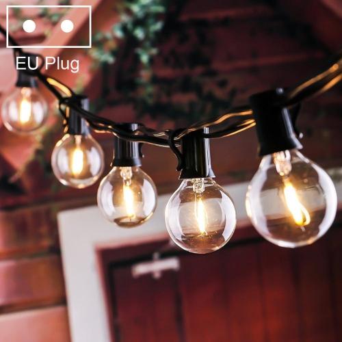 G40-EU-25 G40 7.6m 175W E14 IP44 Waterproof Retro Filament Bulb String Light, 25 Bulbs LED Decorative Lamp for Garden, Engineering, Bar, Party, Wedding, AC 220V, EU Plug(Warm White)