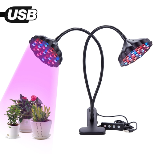 20W Dual Lotus Heads Adjustable Spectrum Timing LED Lamp for Plant Growth Lighting(Black)