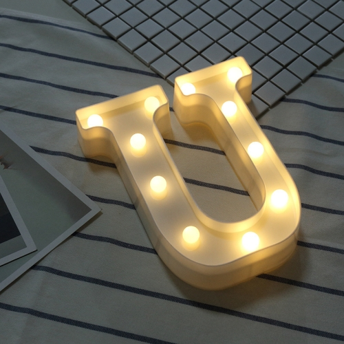 Alphabet U English Letter Shape Decorative Light, Dry Battery Powered Warm White Standing Hanging LED Holiday Light