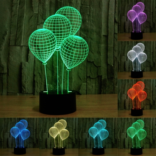 Buy Balloon Style 7 Colour Discoloration Creative Visual Stereo Lamp 3D Touch Switch Control LED Light Desk Lamp Night Light for $7.79 in SUNSKY store