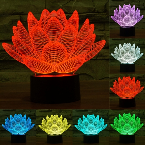Buy Lotus Style 7 Colour Discoloration Creative Visual Stereo Lamp 3D Touch Switch Control LED Light Desk Lamp Night Light for $7.79 in SUNSKY store