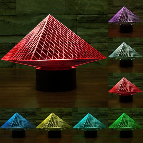 Buy Pyramid Style 7 Colour Discoloration Creative Visual Stereo Lamp 3D Touch Switch Control LED Light Desk Lamp Night Light for $7.79 in SUNSKY store