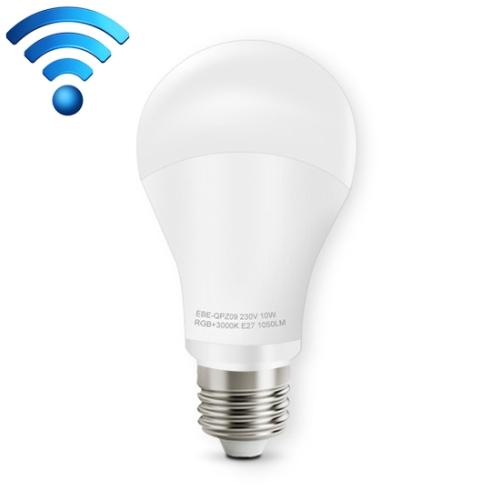 E27 10W Color Changing WiFi Smart LED Light Bulb, 14 LEDs 3000K+RGB 1050 LM Works with Alexa & Google Home, AC 230V