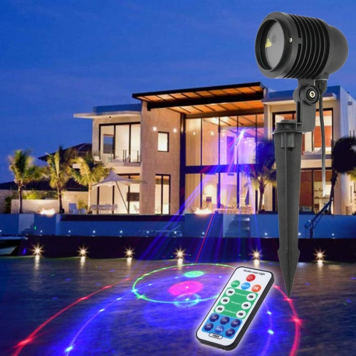Buy GDF-12RGB 8W Life Waterproof 12 in 1 Patterns Outdoor Lawn Yard Garden Decorative Laser Projector Lamp with Remote Controller (Colorful Light) for $79.18 in SUNSKY store