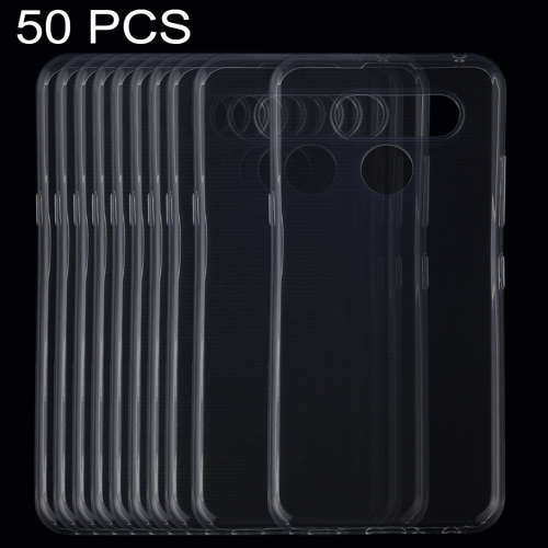 50 PCS 0.75mm Ultrathin Transparent TPU Soft Protective Case for LG K50 / Q60