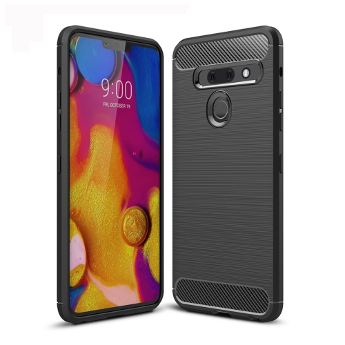 Brushed Texture Carbon Fiber TPU Case for LG G8 ThinQ (Black)