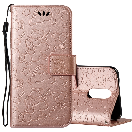 Buy For LG K8, 2017 (EU Version) Pressed Horse Cloud Print Horizontal Flip Leather Case with Holder & Card Slots & Wallet & Lanyard (Rose Gold) for $2.92 in SUNSKY store