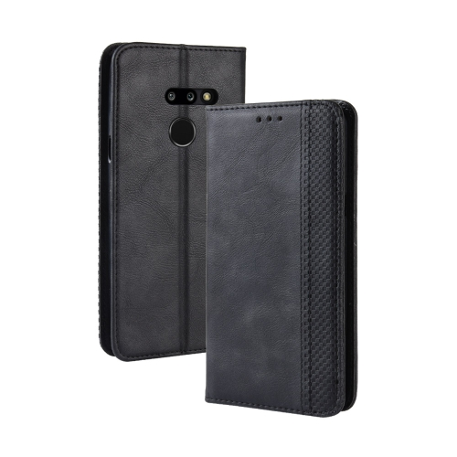 Magnetic Buckle Retro Texture Horizontal Flip Leather Case for LG G8 ThinQ, with Holder & Card Slots & Wallet (Black)