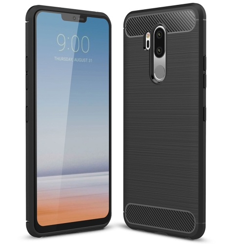 где купить For LG G7 ThinQ Brushed Texture Carbon Fiber Shockproof TPU Protective Back Case (Black) дешево