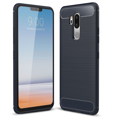 For LG G7 ThinQ Brushed Texture Carbon Fiber Shockproof TPU Protective Back Case (Navy Blue)