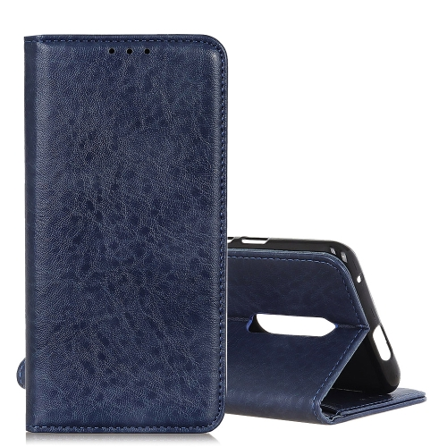Magnetic Retro Crazy Horse Texture Horizontal Flip Leather Case for LG K40, with Holder & Card Slots & Photo Frame (Blue)