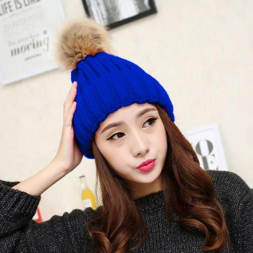 5b9ec9fcace Imitation Fox Fur Ball Wool Hat Winter Cap Thick Warm Knit Hat for Adult