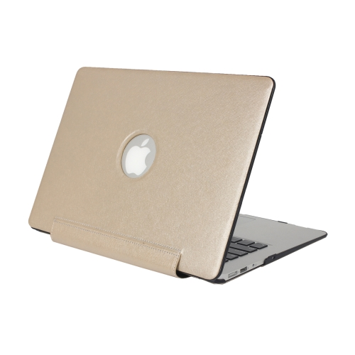 For Macbook Air 11.6 inch Silk Texture Apple Laptop United PU Protective Case, Gold