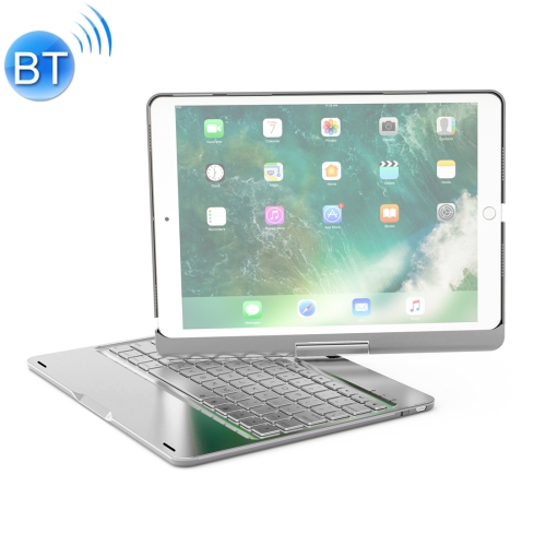 F360 For iPad Pro 10.5 inch & iPad Air 10.5 inch Rotatable Colorful Backlight Laptop Version Aluminum Alloy Bluetooth Keyboard Protective Cover (Silver)