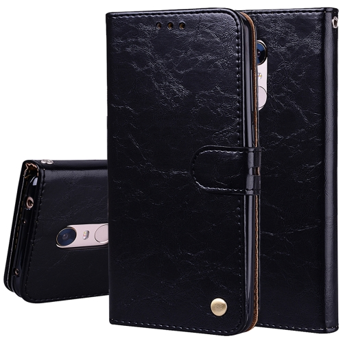 For Xiaomi Redmi 5 Plus Oil Wax Texture Horizontal Flip Leather Case with Holder & Card Slots & Wallet(Black)