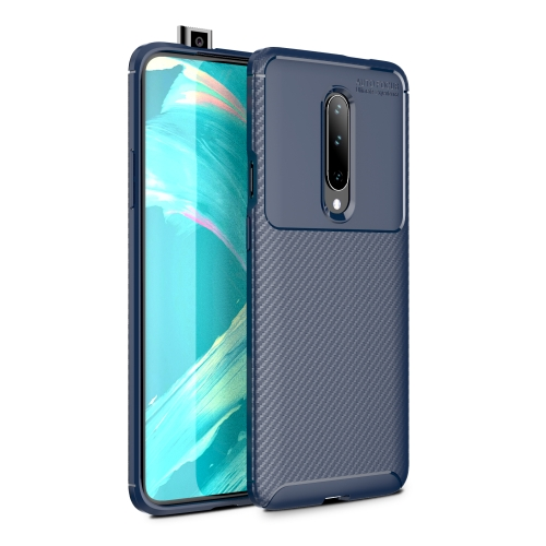 Carbon Fiber Texture Shockproof TPU Case for Oneplus 7 (Blue)