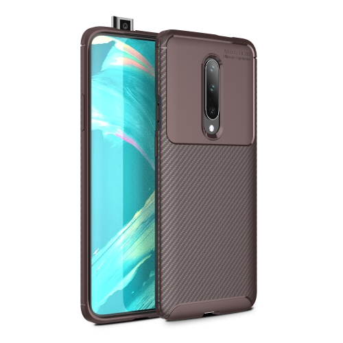 Carbon Fiber Texture Shockproof TPU Case for Oneplus 7 (Brown)
