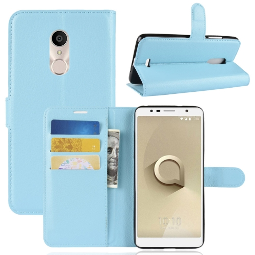 For Alcatel 3C Litchi Texture Horizontal Flip Leather Case with Wallet & Holder & Card Slots(Blue) for alcatel 1c wallet with case kickstand feature card slots