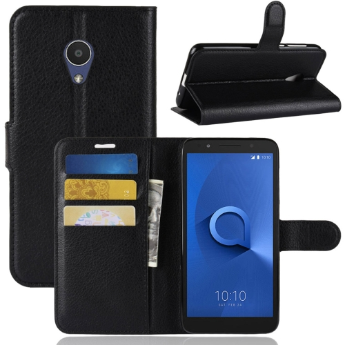 Litchi Texture Horizontal Flip Leather Case for Alcatel 1X, with Wallet & Holder & Card Slots(Black) for alcatel 1c wallet with case kickstand feature card slots