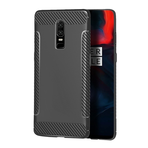 Carbon Fiber Anti-slip TPU Protective Case for OnePlus 6 (Grey)