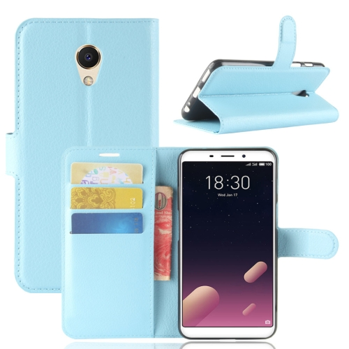 Buy Meizu Meilan M6s PU + TPU Litchi Texture Horizontal Flip Leather Case with Wallet & Holder & Card Slots, Blue for $2.43 in SUNSKY store