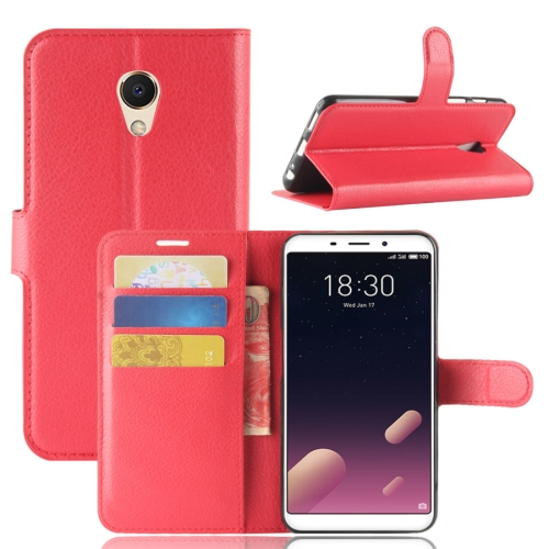 Buy Meizu Meilan M6s PU + TPU Litchi Texture Horizontal Flip Leather Case with Wallet & Holder & Card Slots, Red for $2.43 in SUNSKY store