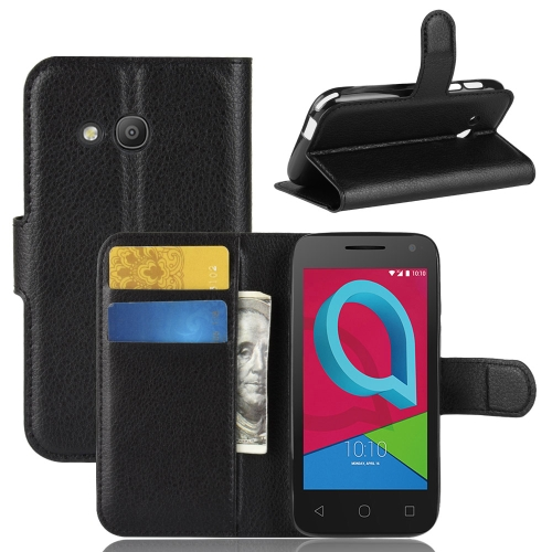 Litchi Texture Horizontal Flip Leather Case for Alcatel U3 3G, with Wallet & Holder & Card Slots (Black) for alcatel 1c wallet with case kickstand feature card slots