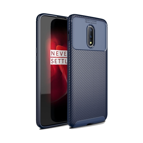 Carbon Fiber Texture Shockproof TPU Case for OnePlus 7 Pro (Blue)