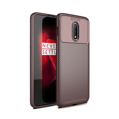 Carbon Fiber Texture Shockproof TPU Case for OnePlus 7 Pro (Brown)
