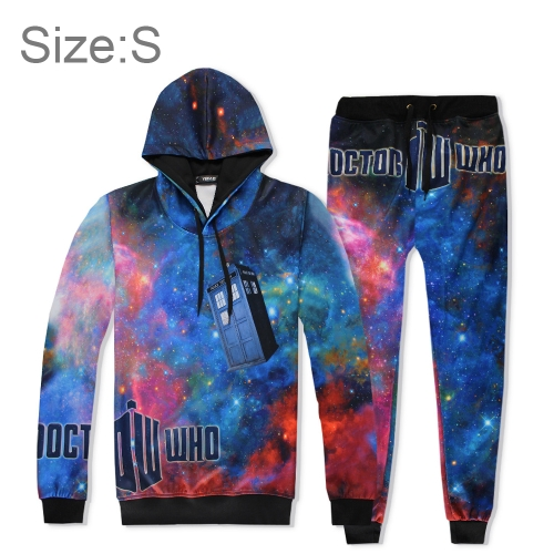 Buy 3D Digital Printing European Style Starry Sky Pattern Fashion Casual Hoodie Suit Set,Size:S for $17.23 in SUNSKY store
